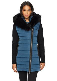 Calvin Klein Performance Women's Walker Jacket W/Sweater Rib and Drama Collar Faux Fur Trimmed Hood  L