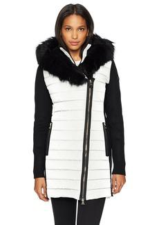 Calvin Klein Performance Women's Walker Jacket W/Sweater Rib and Drama Collar Faux Fur Trimmed Hood  S