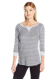 Calvin Klein Performance Women's Y/d Stripe 5/8 Sleeve Raglan Shirttail Pullover  L