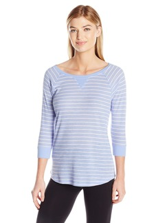 Calvin Klein Performance Women's Y/d Stripe 5/8 Sleeve Raglan Shirttail Pullover  S