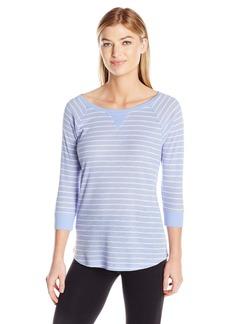 Calvin Klein Performance Women's Y/d Stripe 5/8 Sleeve Raglan Shirttail Pullover  S