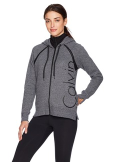 Calvin Klein Performance Women's Zip Front Logo Fleece Hoodie W/ Mock Neck Collar  S
