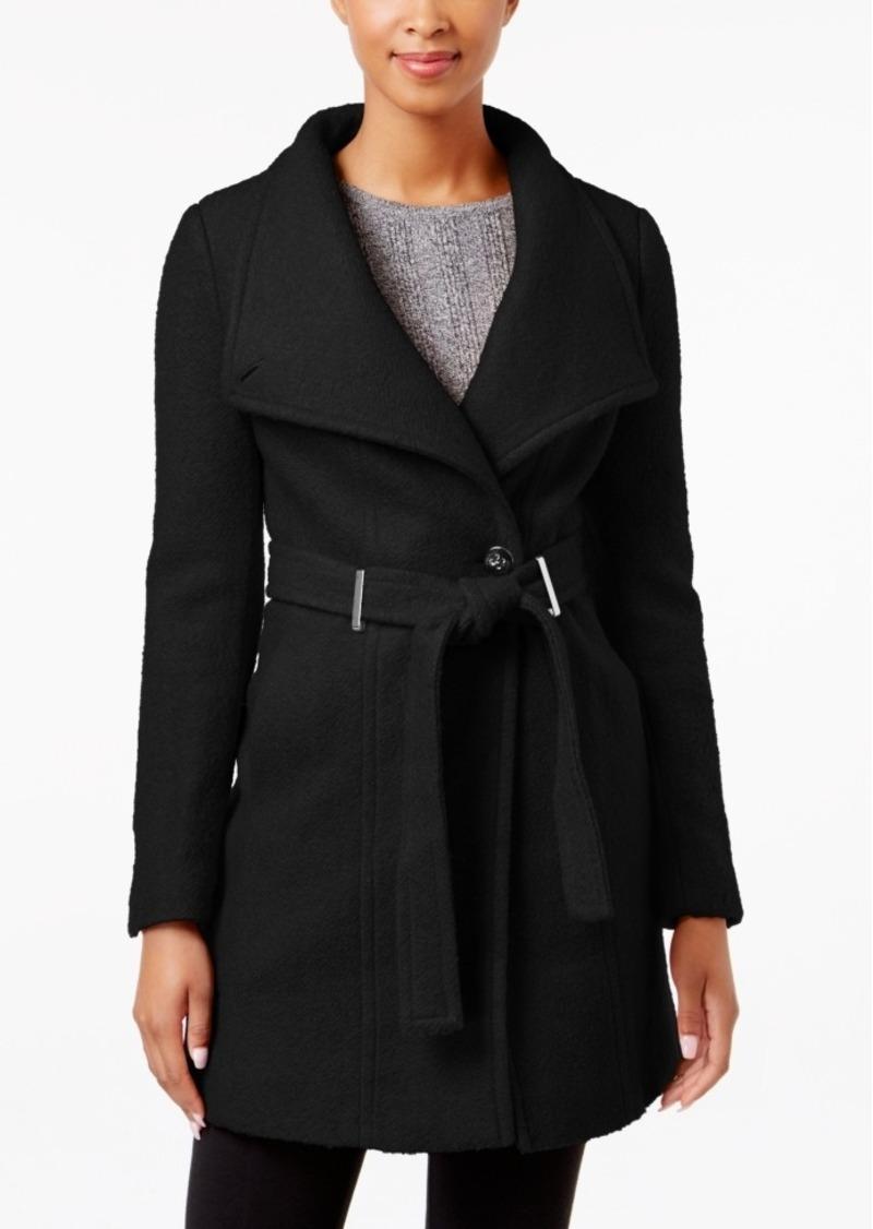 Calvin Klein Petite Belted Asymmetrical Walker Coat