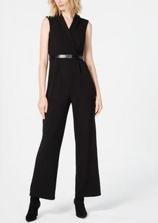 Calvin Klein Belted Collared Jumpsuit