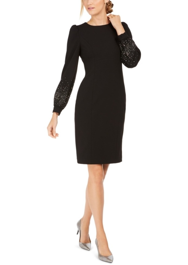 Calvin Klein Petite Bling Puff-Sleeve Sheath Dress
