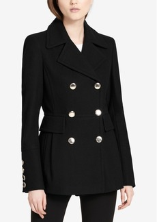 Calvin Klein Petite Double-Breasted Skirted Peacoat