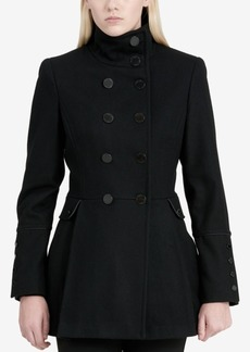 Calvin Klein Petite Stand-Collar Skirted Peacoat