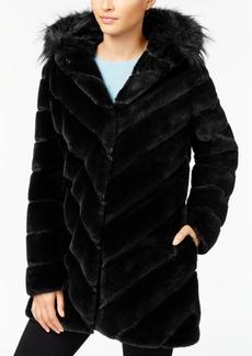 Calvin Klein Petite Faux-Fur Chevron Seamed Coat
