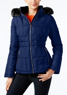 Calvin Klein Petite Faux-Fur-Trim Hooded Down Puffer Coat