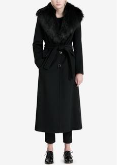 Calvin Klein Petite Faux-Fur-Trim Maxi Coat