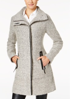 Calvin Klein Petite Faux-Leather-Trim Asymmetrical Walker Coat