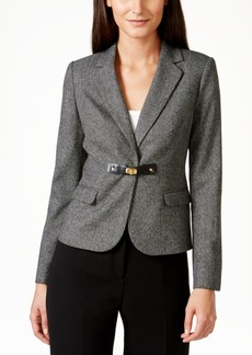 Calvin Klein Petite Faux-Leather-Trim Buckled Blazer