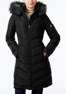 Calvin Klein Faux-Fur-Trim Chevron Water-Resistant Down Puffer Coat
