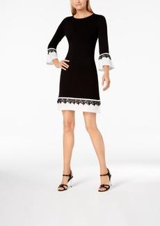 Calvin Klein Petite Lace-Trim Bell-Sleeve Sheath Dress