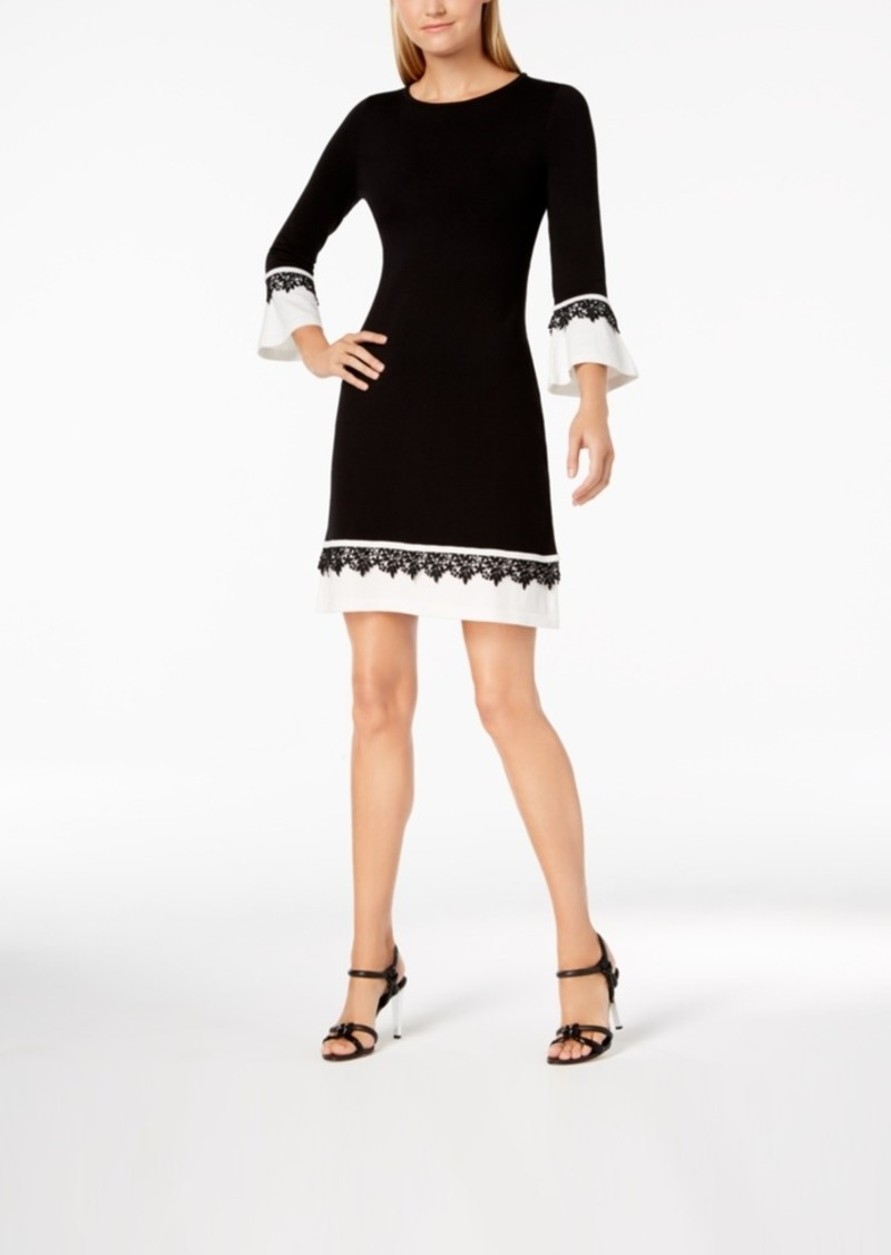 Calvin Klein Lace-Trim Bell-Sleeve Sweater Dress
