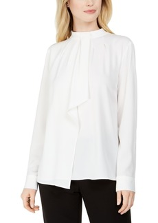 Calvin Klein Mock-Neck Ruffled-Front Top