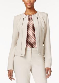 Calvin Klein Petite Open-Front Zip-Detail Jacket