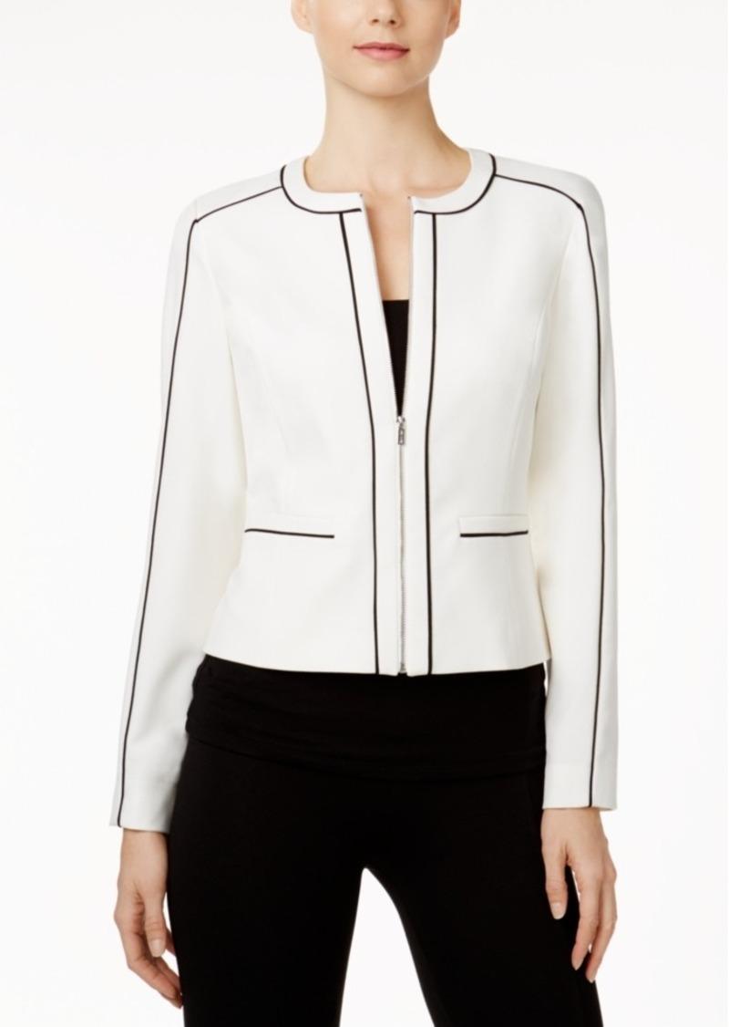 Calvin Klein Petite Piped-Trim Jacket
