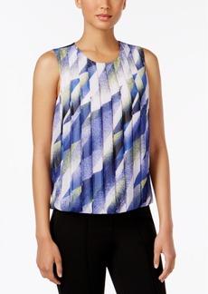 Calvin Klein Petite Printed Pleated Top