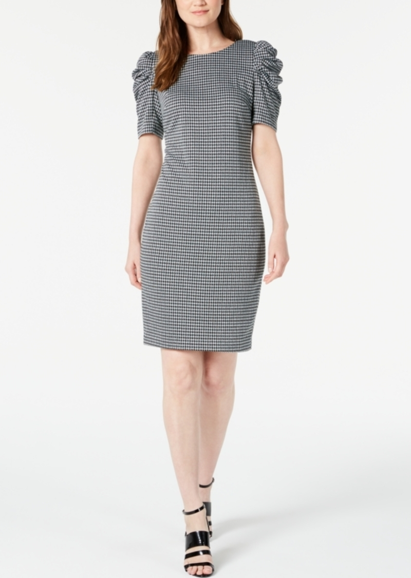 Calvin Klein Petite Puff-Sleeve Gingham Sheath Dress