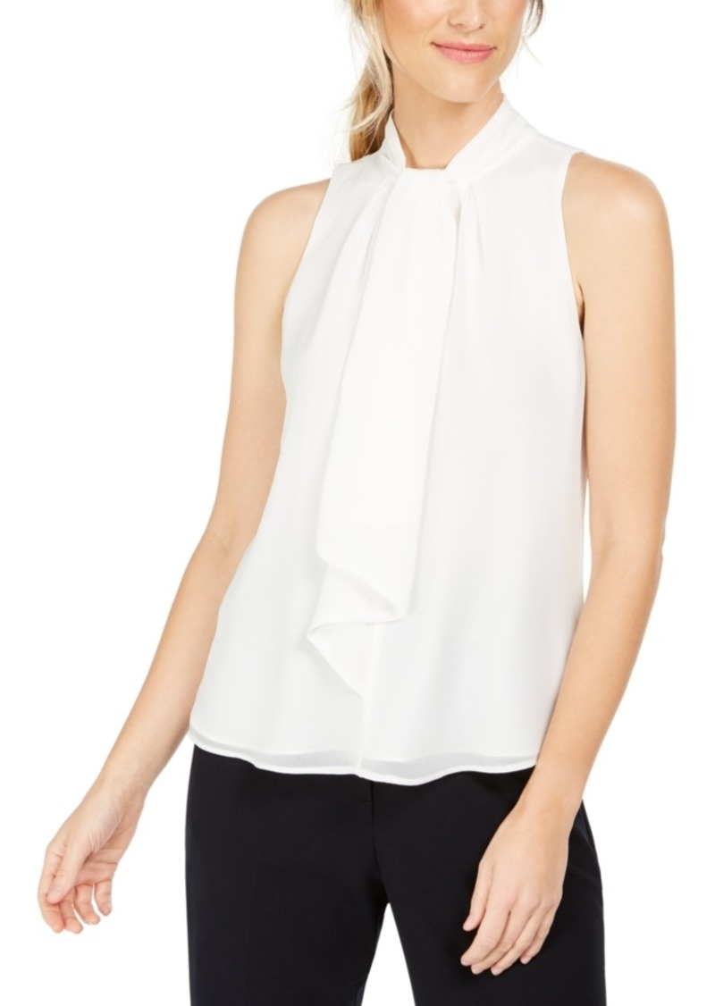 Calvin Klein Tie-Neck Sleeveless Blouse