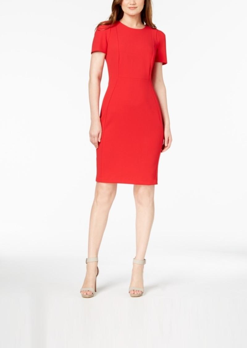 Calvin Klein Seamed Scuba Crepe Sheath Dress