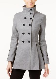 Calvin Klein Petite Stand-Collar Skirted Peacoat
