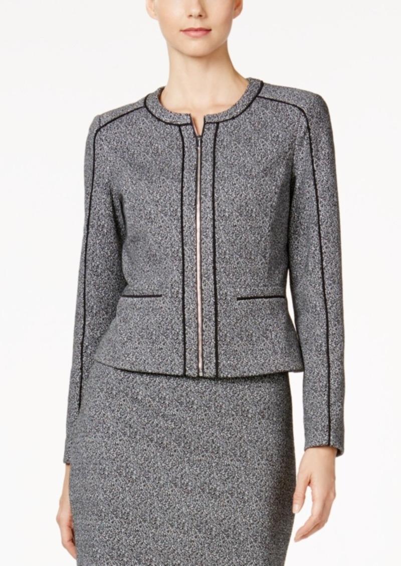 Calvin Klein Petite Tweed Piped-Trim Blazer