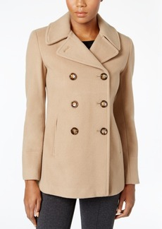 Calvin Klein Petite Wool-Cashmere-Blend Peacoat, Only at Macy's