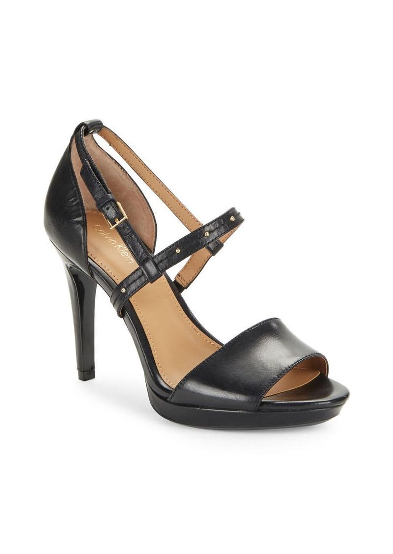 CALVIN KLEIN Pianna Leather Open-Toe Sandals