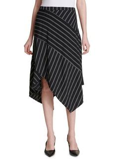 Calvin Klein Pinstripe Asymmetric Midi Skirt