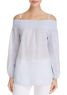 Calvin Klein Pinstripe Cold Shoulder Top
