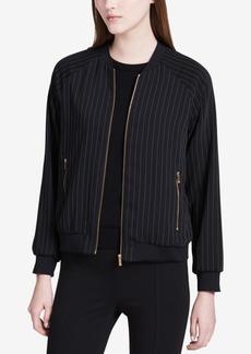 Calvin Klein Pinstriped Bomber Jacket