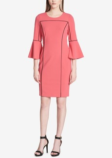 Calvin Klein Pipe-Trim Bell-Sleeve Dress