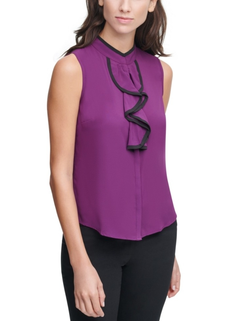 Calvin Klein Piping-Trim Ruffle-Front Top