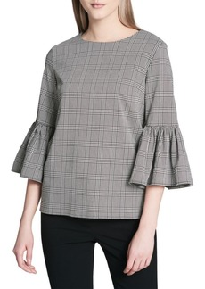 Plaid Bell-Sleeve Blouse