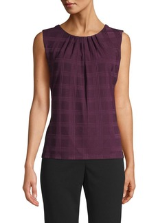 Calvin Klein Plaid Pleat Neck Top