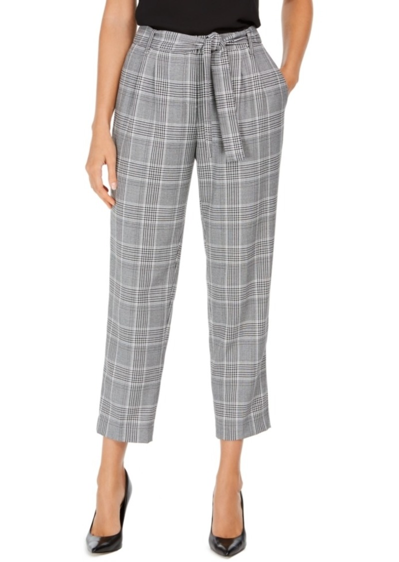 Calvin Klein Plaid Tie-Waist Pants