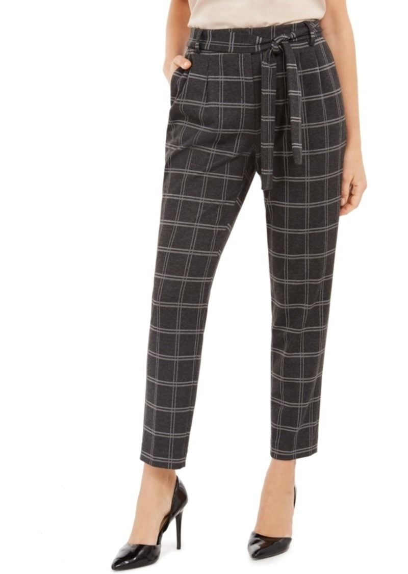 Calvin Klein Plaid Tie-Waist Slim Fit Pants