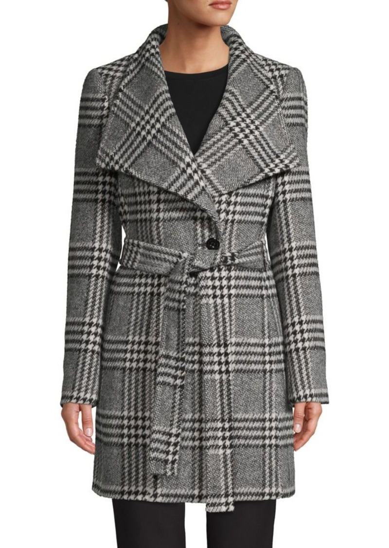 Calvin Klein Plaid Wool-Blend Wrap Coat