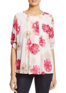 Calvin Klein Pleat Front Floral Print Blouse