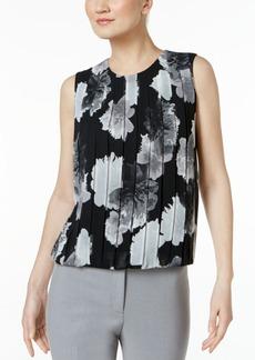 Calvin Klein Pleated Printed Blouson Shell