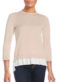 Calvin Klein Pleated Cotton Blend Sweater