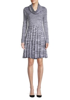 Calvin Klein Pleated Cowlneck Sweater Dress