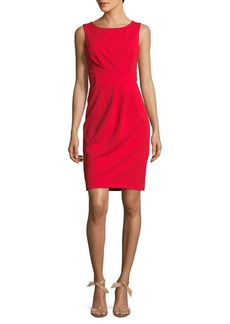 Calvin Klein Pleated Crepe Sheath Dress