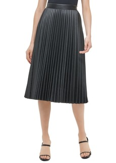 Calvin Klein Pleated Faux-Leather Skirt