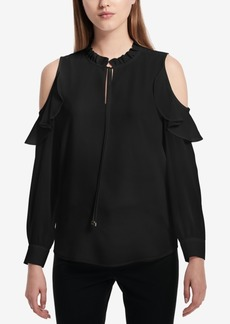 Calvin Klein Pleated Faux-Wrap Hardware Top