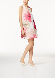 Calvin Klein Pleated Floral-Print Shift Dress
