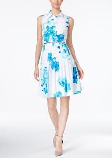 Calvin Klein Pleated Floral-Print Shirtdress
