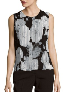 Calvin Klein Pleated Floral Print Top